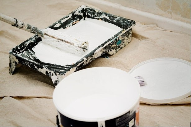 paint tray with white paint, roller and paint can